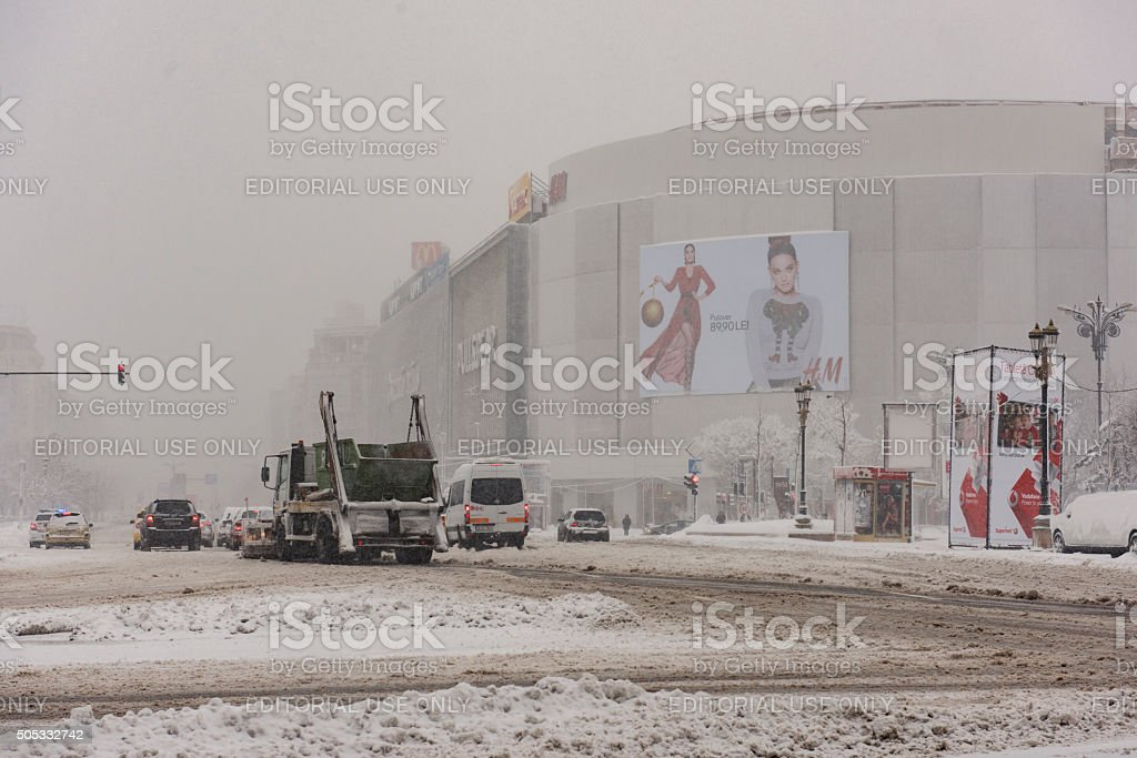 Bucharest downtown in winter stock photo