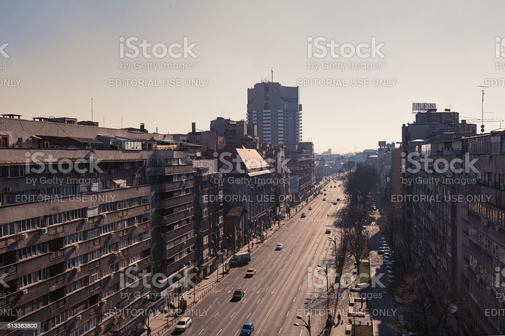 Bucharest panoramic view over Magheru Boulevard, in city center stock photo