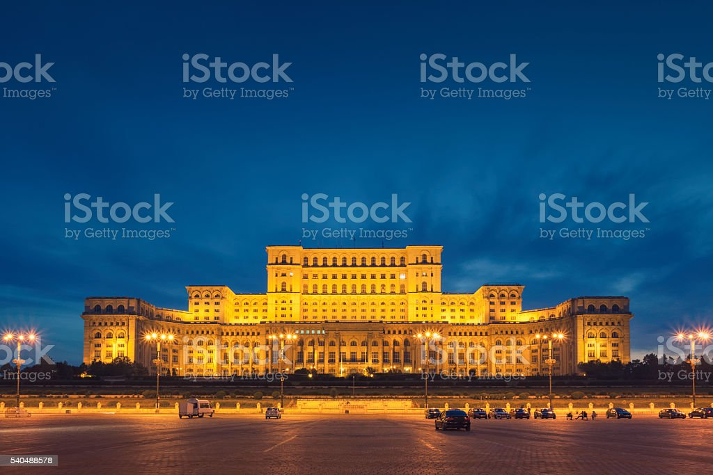 Bucharest parliament building stock photo