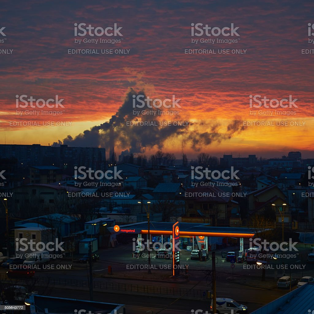 Bucharest pollution at dawn stock photo