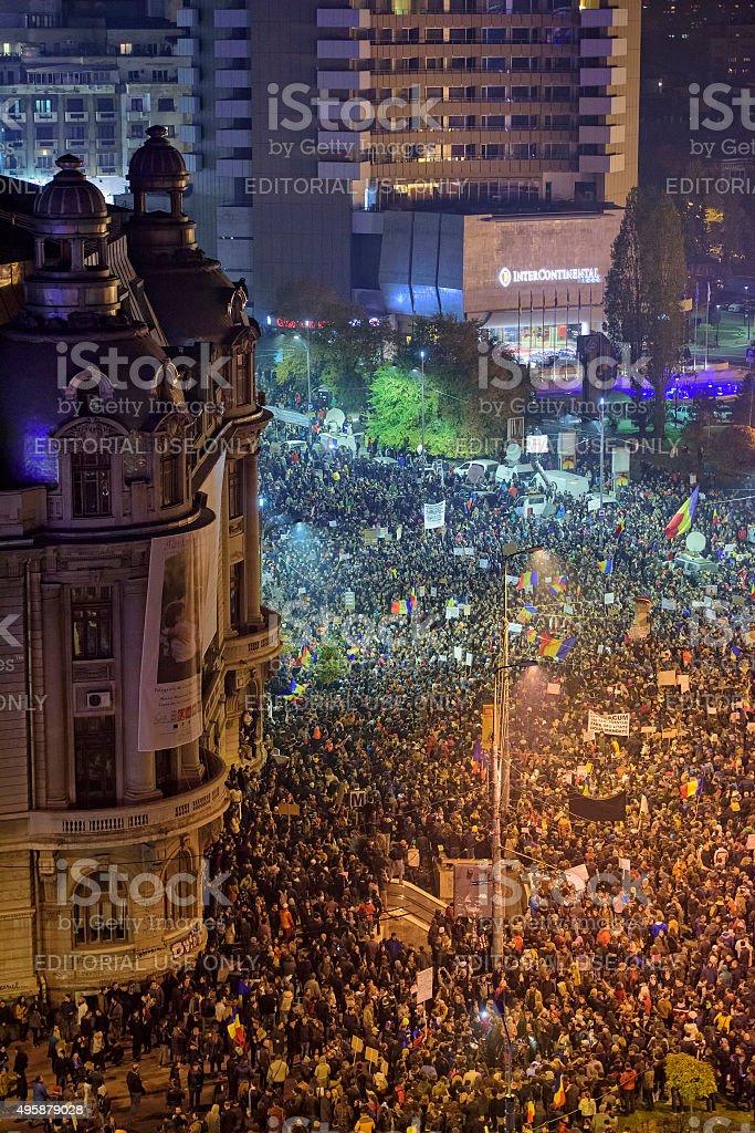 Bucharest protests - 5 Noevember 2015 stock photo