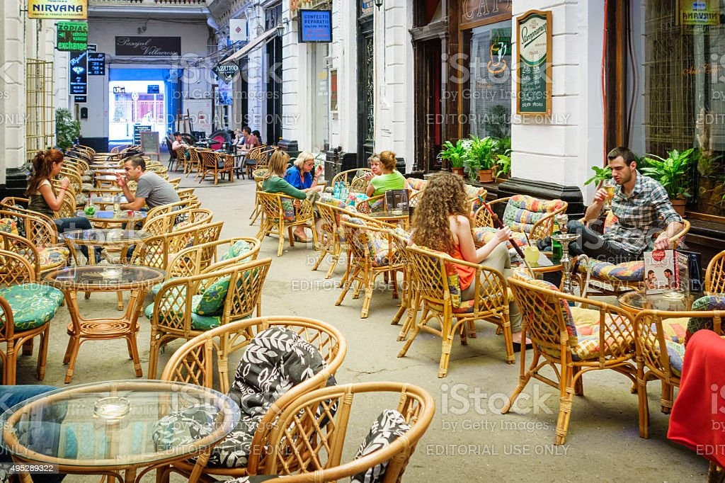 Bucharest Romania Cafe Bar Patio stock photo