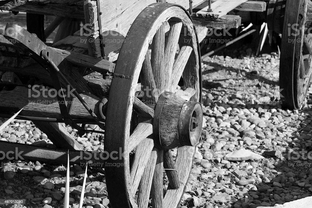 Buckboard Wagon Wheel stock photo