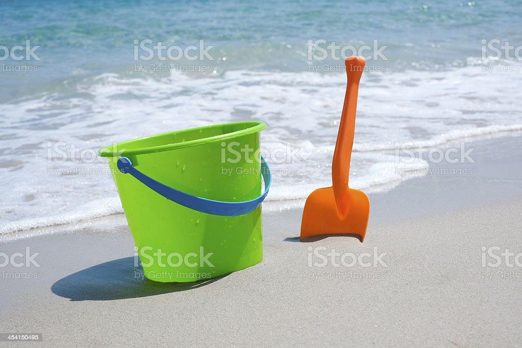 Bucket and shovel stock photo