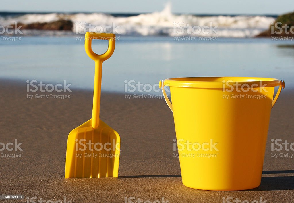Bucket and spade at the Beach stock photo