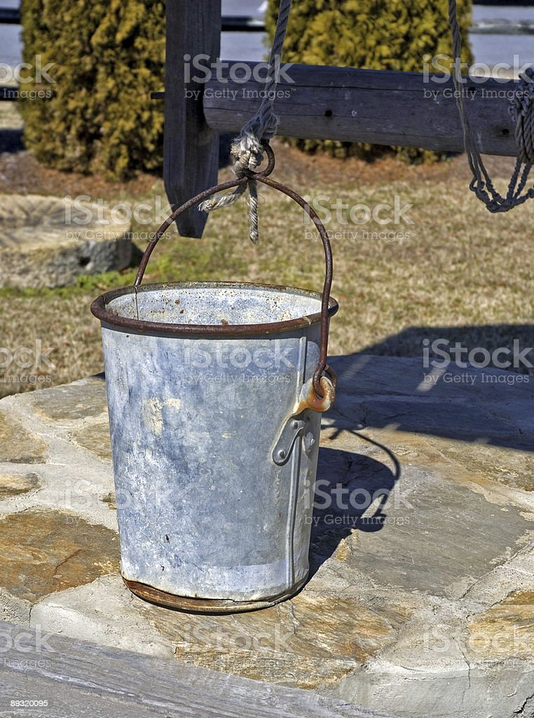 Bucket at a Water Well royalty-free stock photo