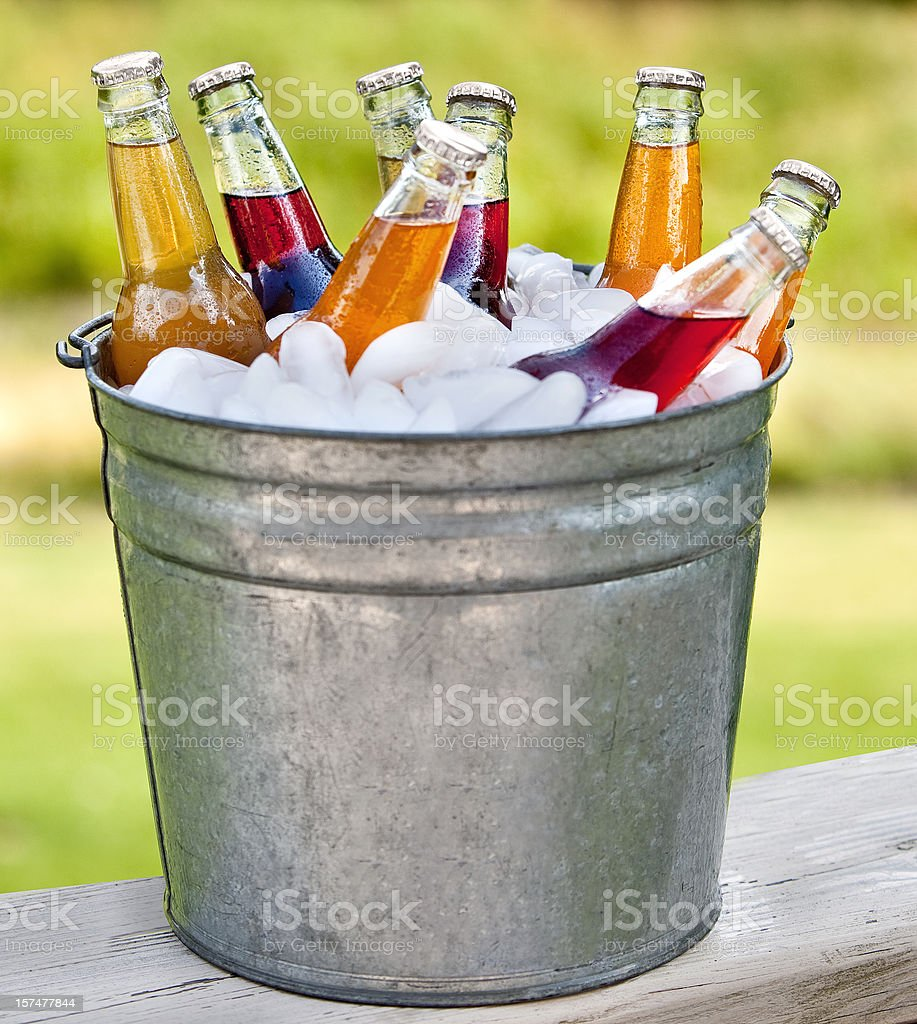 bucket o pop bottles stock photo