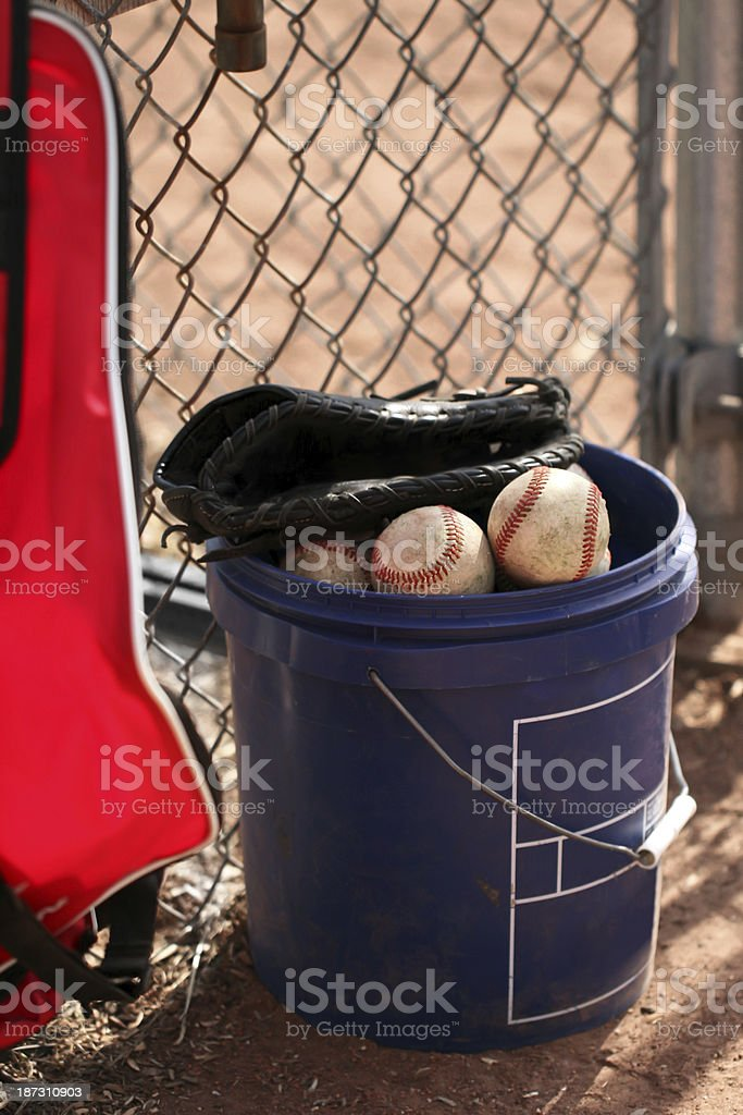 Bucket of baseballs, glove and gear bag.  Copy space. stock photo