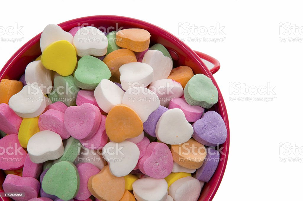 Bucket of Candy Valentine's Hearts - Close-up stock photo