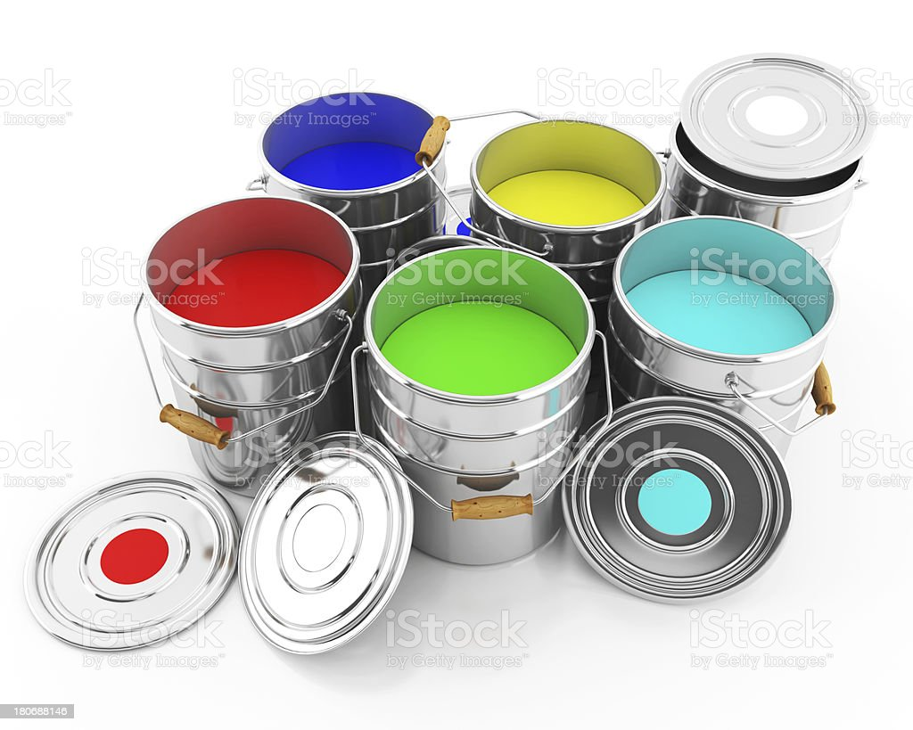 bucket of colored inks stock photo