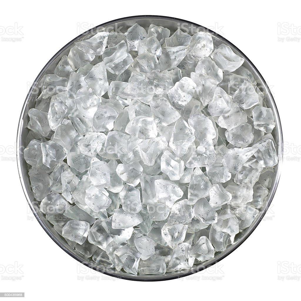 Bucket of crushed ice stock photo