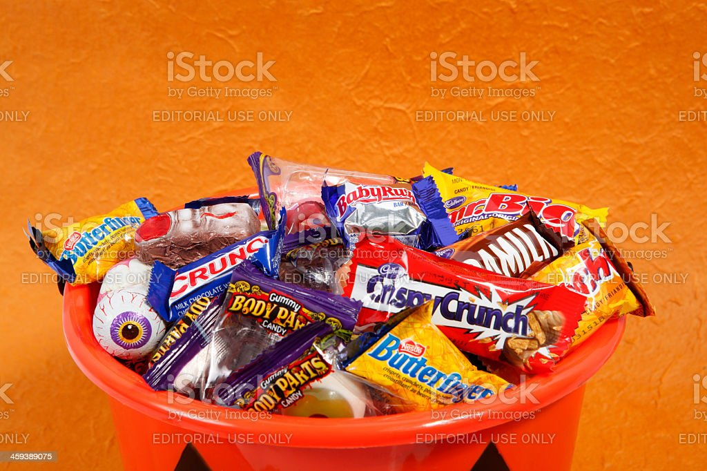 Bucket of Halloween Candies stock photo