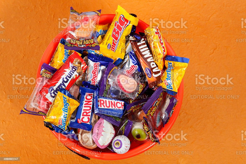 Bucket of Halloween Candies royalty-free stock photo