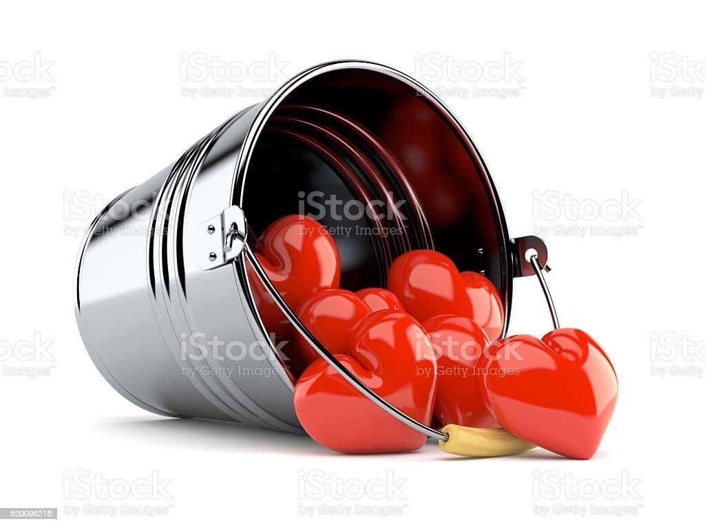 Bucket of hearts stock photo