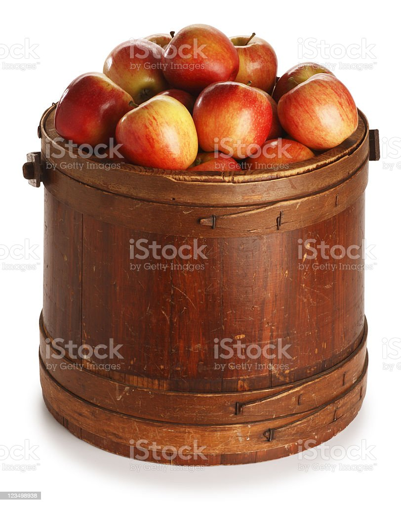 Bucket of Juicy Red Apples stock photo