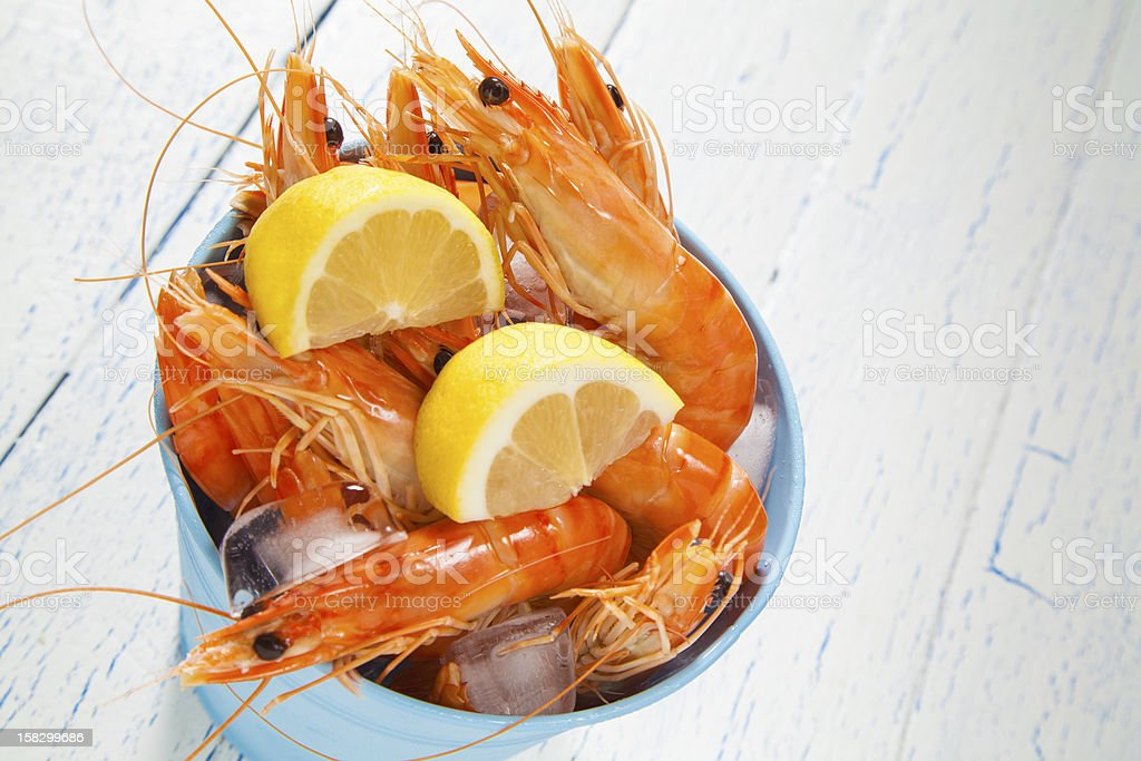 Bucket of king prawns on ice royalty-free stock photo