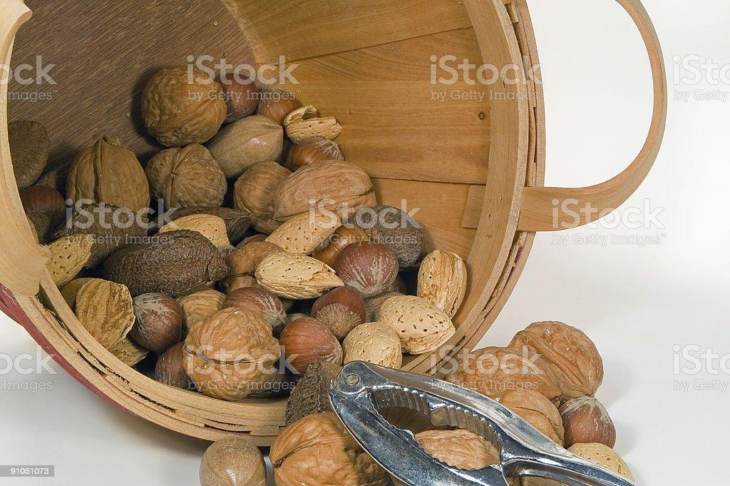 Bucket of Mixed Nuts royalty-free stock photo