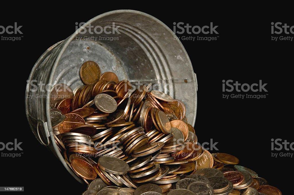 Balde de dinheiro foto royalty-free