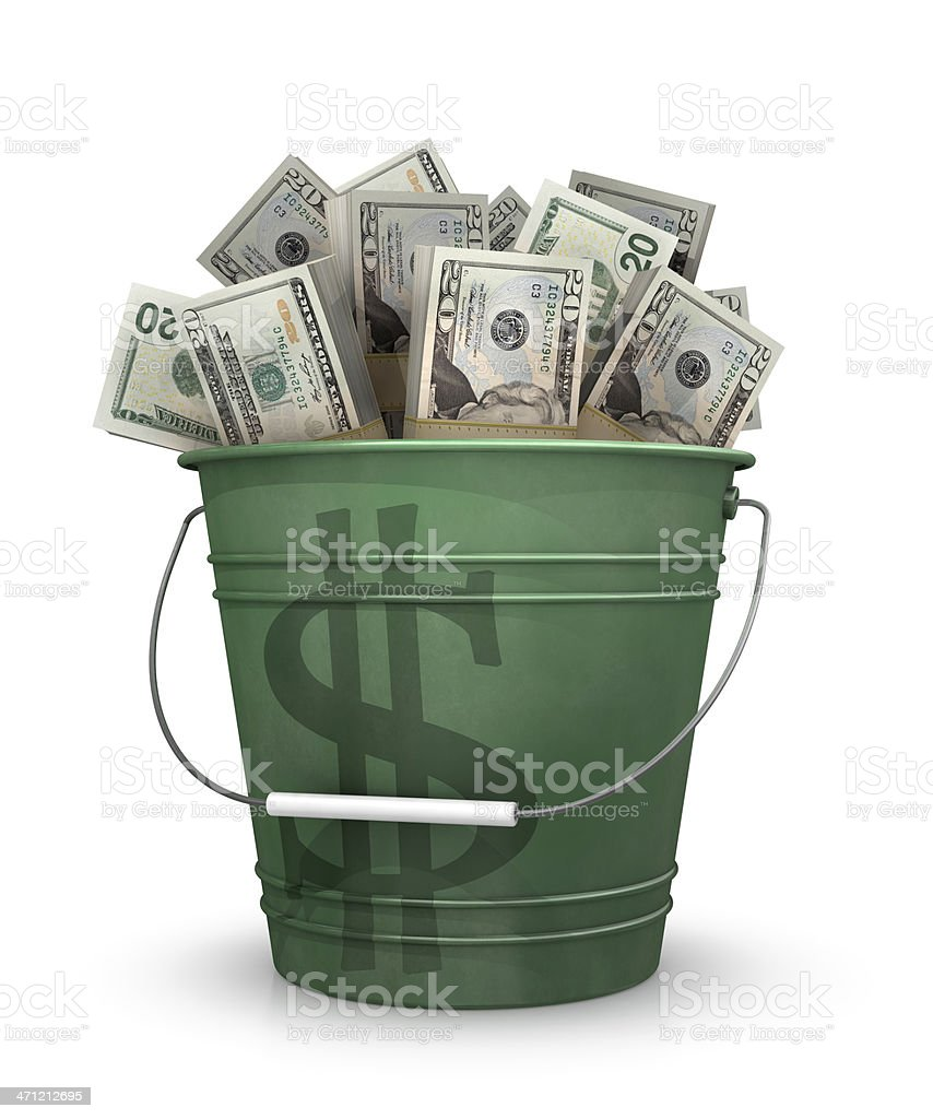 Bucket of money royalty-free stock photo