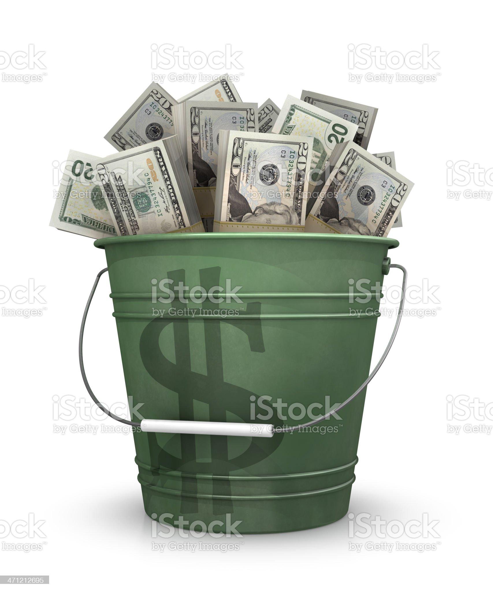 Bucket of money royalty-free stock photo