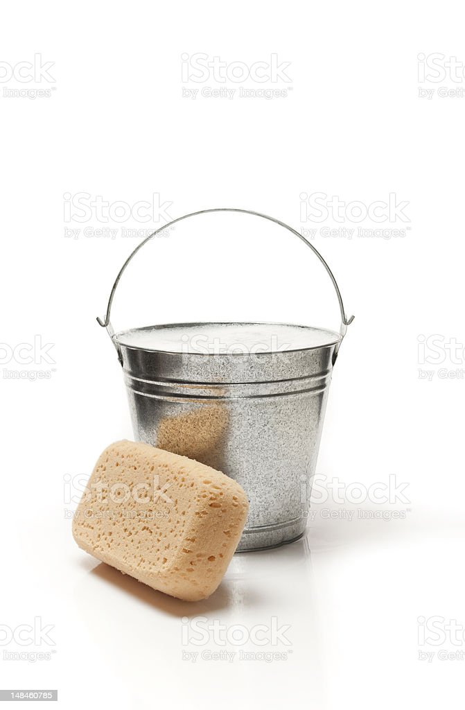 Bucket of water and sponge for cleaning royalty-free stock photo