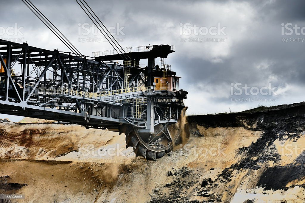Bucket wheel excavator in a lignite mine stock photo