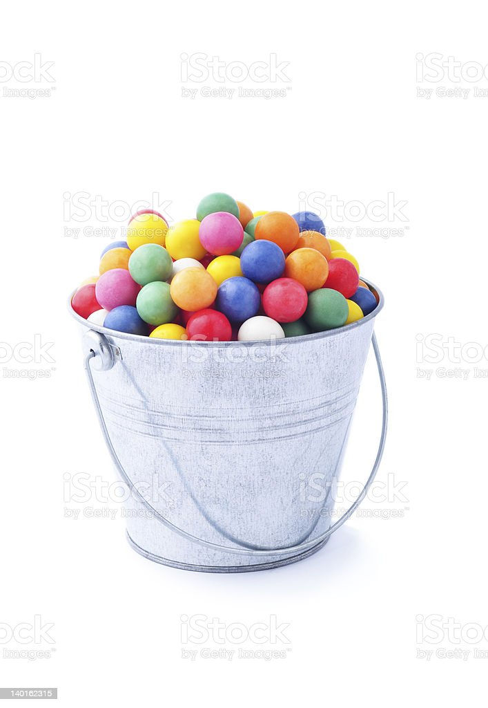 Bucket with candy stock photo
