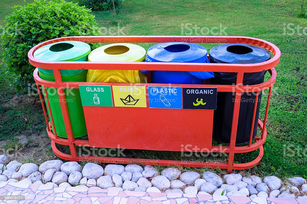 Buckets for waste sorting stock photo
