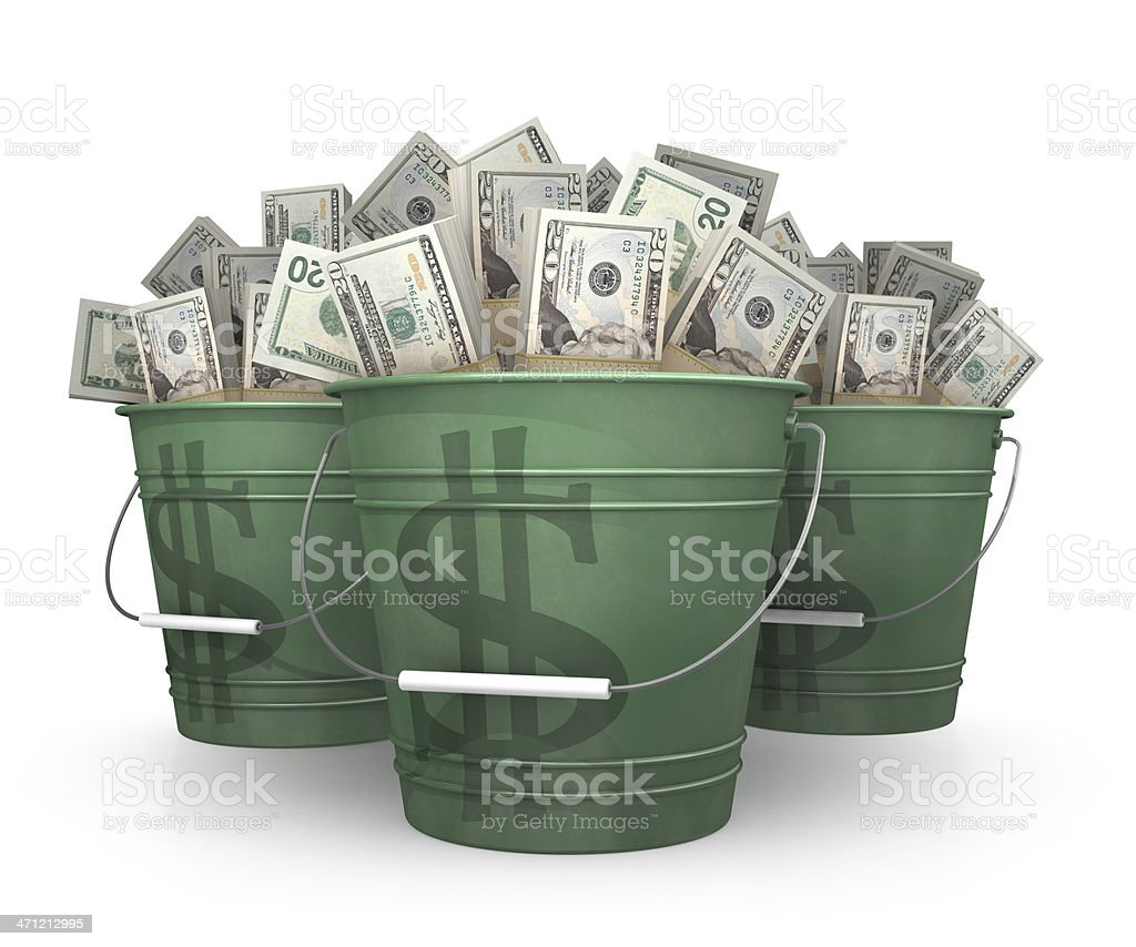 buckets of money stock photo