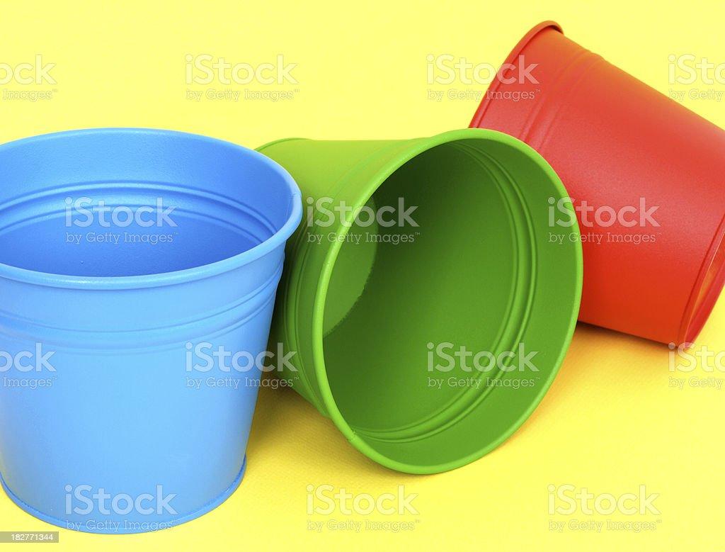 Buckets on Yellow royalty-free stock photo