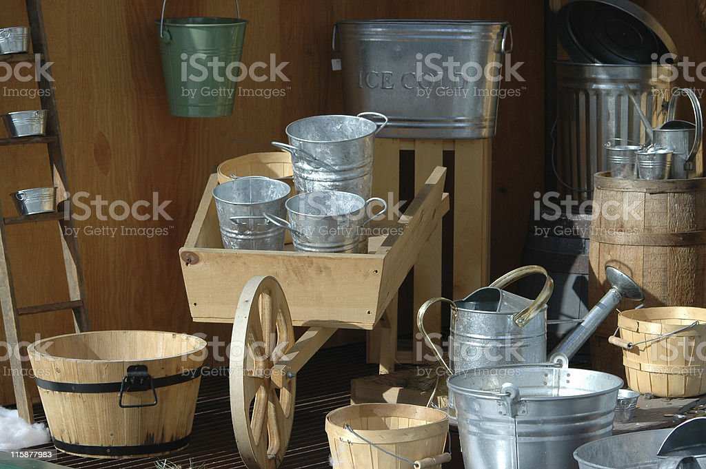 buckets, pails, and cans royalty-free stock photo