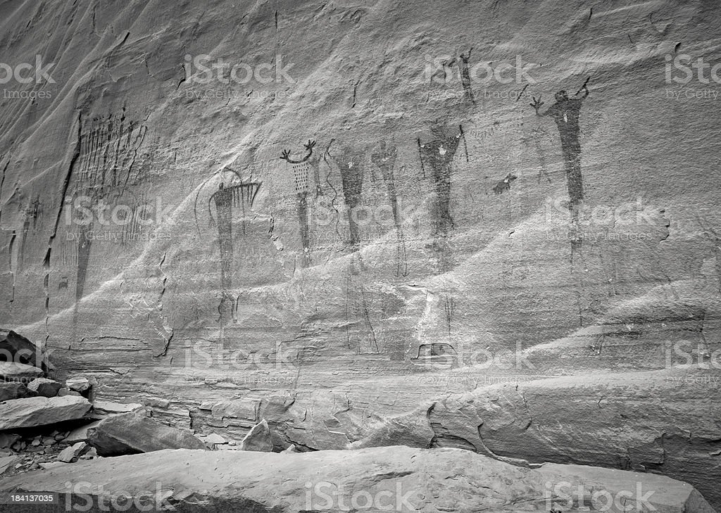 Buckhorn Wash Pictograph Panel in B&W royalty-free stock photo