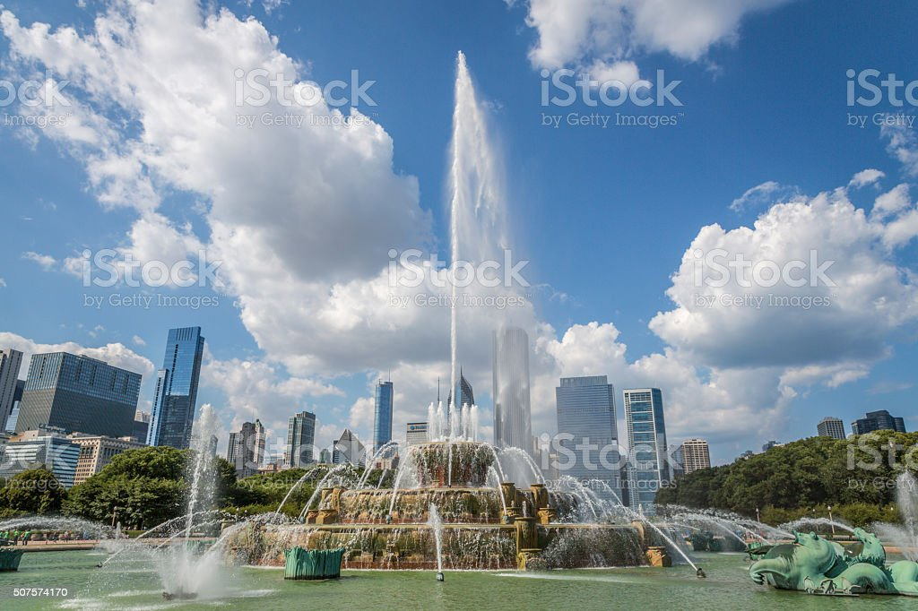 Buckingham Fountain at Grant Park in Chicago, Illinois stock photo