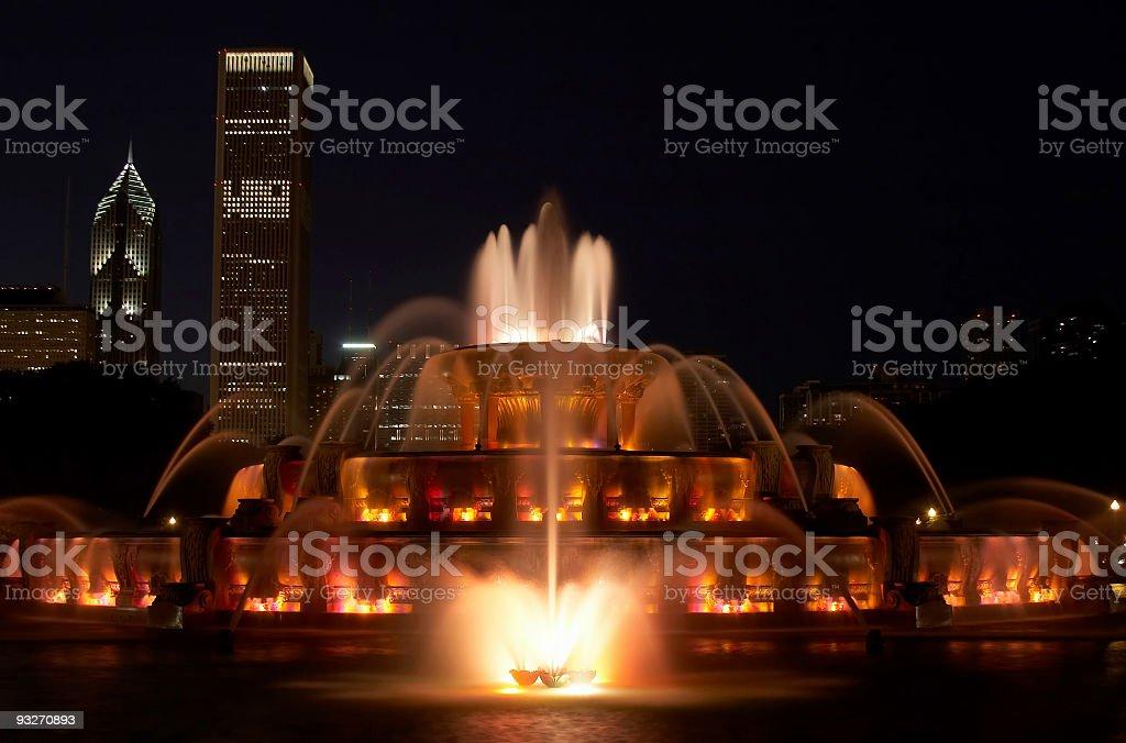 Buckingham Fountain at Night royalty-free stock photo