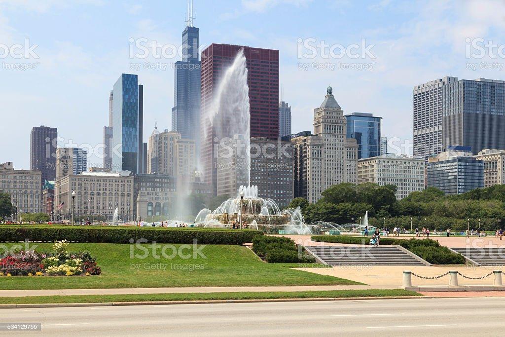 Buckingham Fountain in Chicago, IL stock photo