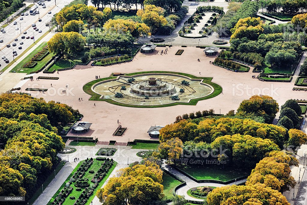Buckingham Fountain in Grant Park, Chicago. Aerial view. stock photo