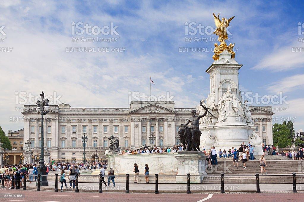 Buckingham Palace and Victoria Memorial, London, England. stock photo