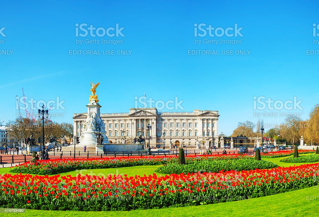 Buckingham palace panoramic overview in London, United Kingdom stock photo