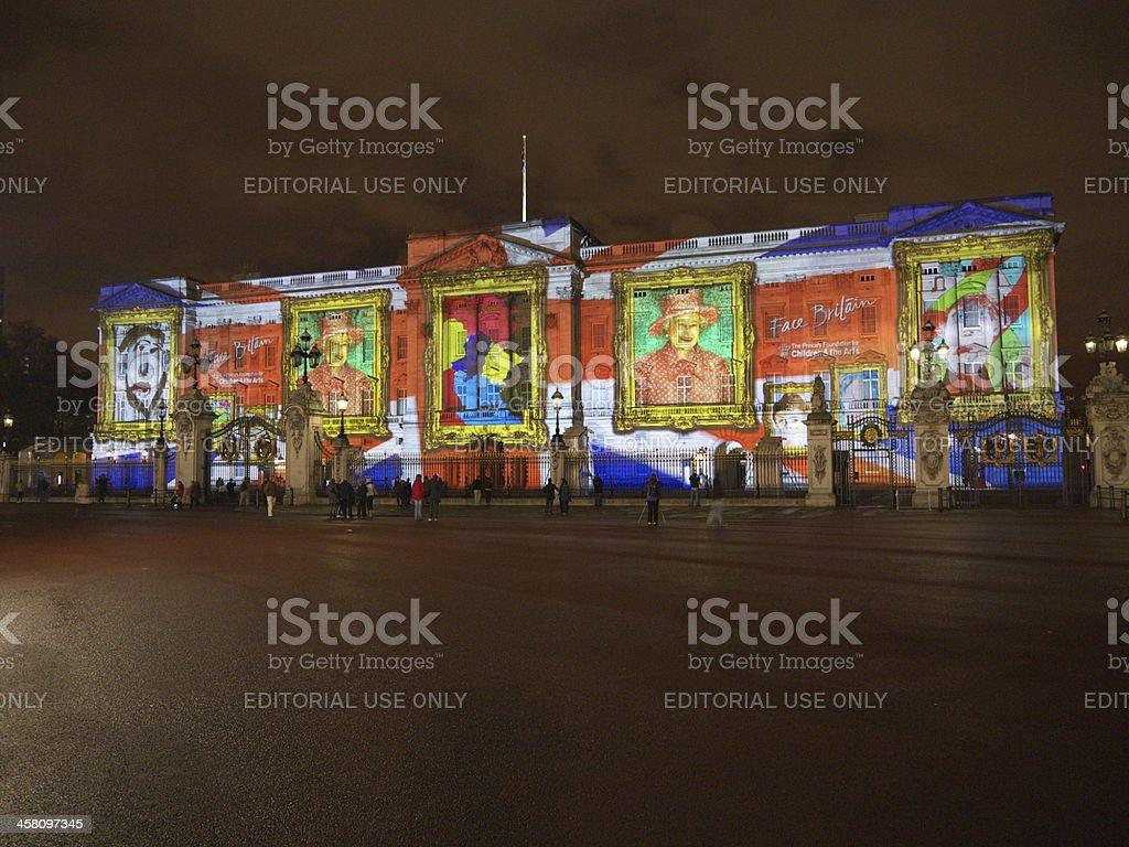 Buckingham Palace projection of portraits stock photo