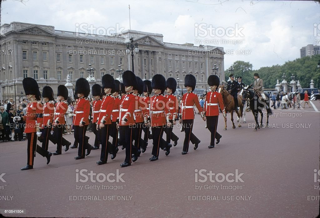 Buckingham Palace, Queen's Guard, London,1972 stock photo