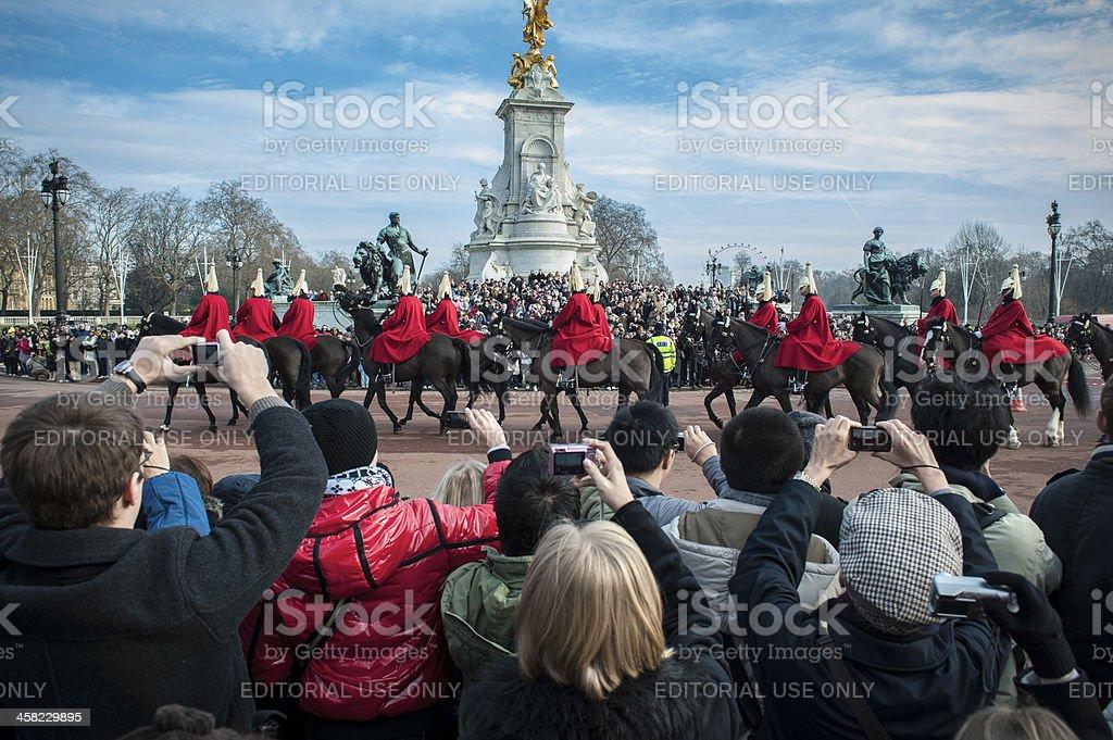 Buckingham Palace Royal Calvary changing guard stock photo