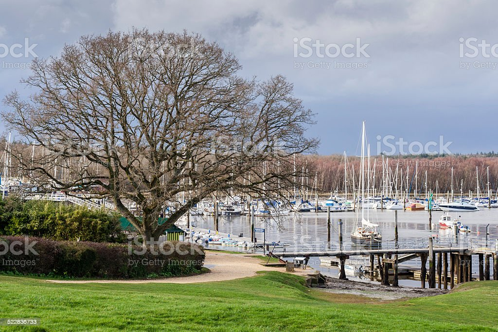 Bucklers hard harbour stock photo