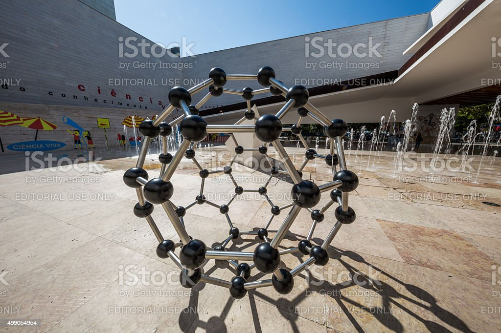 Buckminsterfullerene model in Lisbon Science Museum, Portugal stock photo
