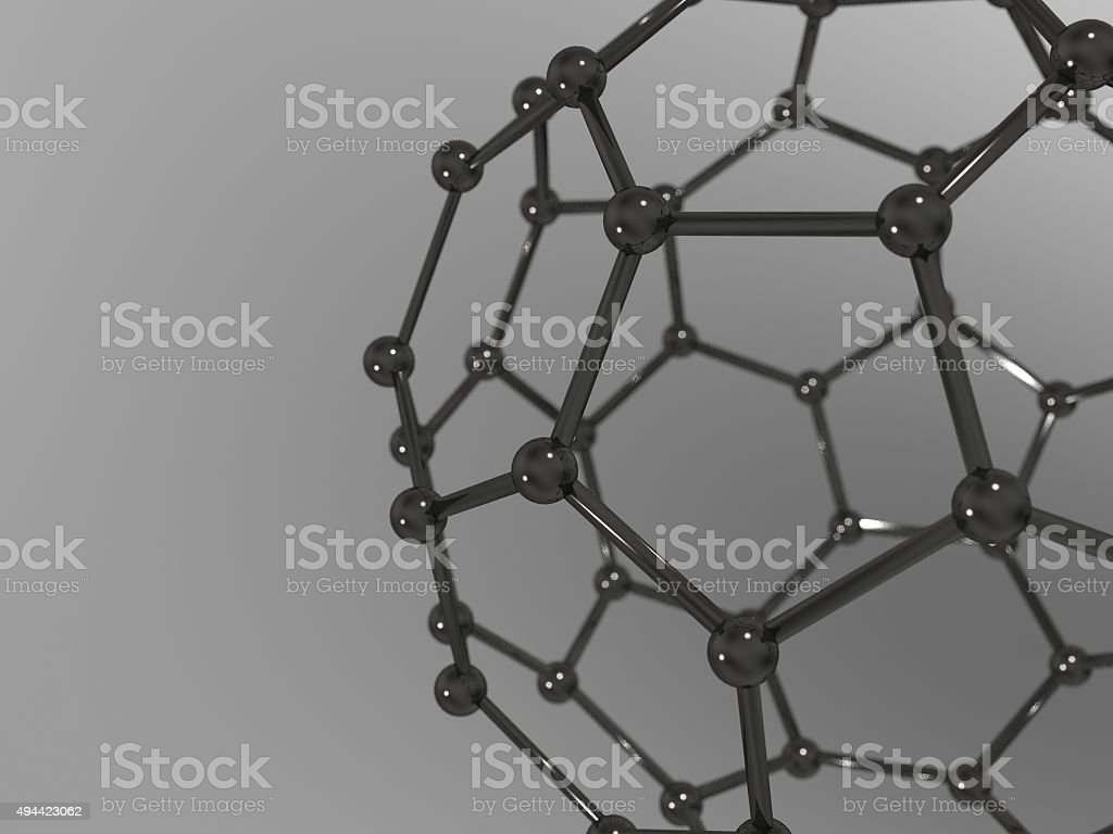 Buckminsterfullerene Molecule - C70 - fullerene (close-up). stock photo