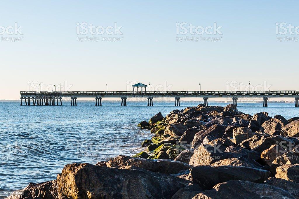 Buckroe Beach Pier and Rock Jetty stock photo