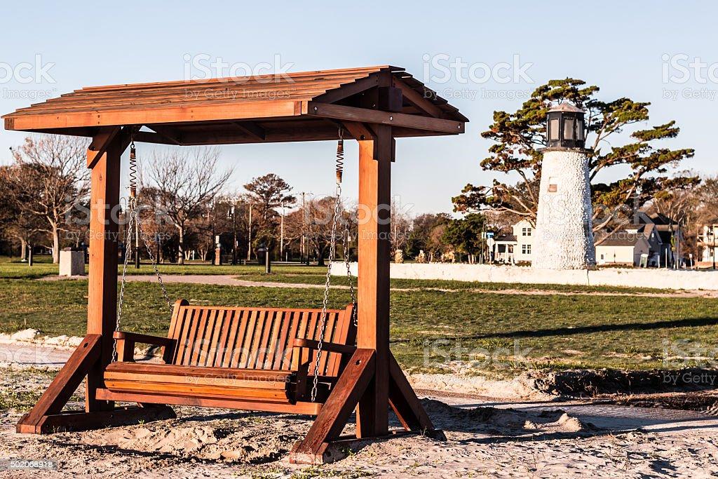 Buckroe Beach Wooden Porch Swing stock photo