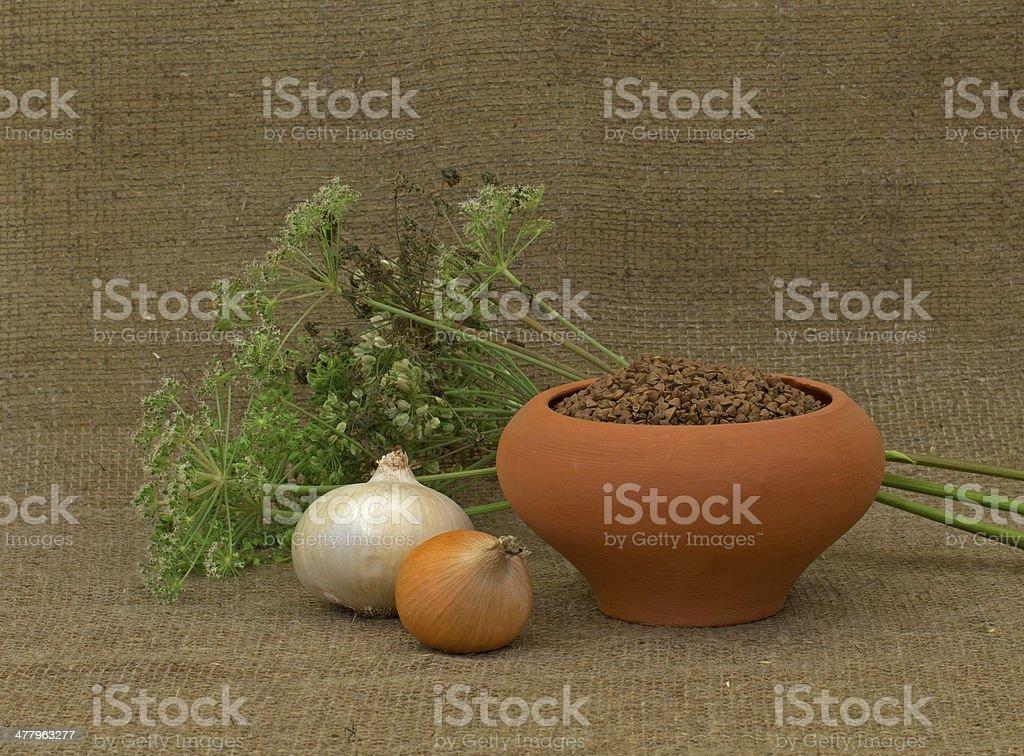 buckwheat and onion royalty-free stock photo
