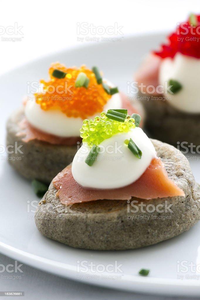 Buckwheat Blinis with Caviar stock photo