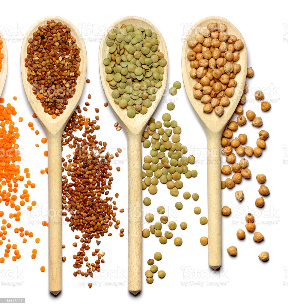 buckwheat, green lentils, chick-pea royalty-free stock photo