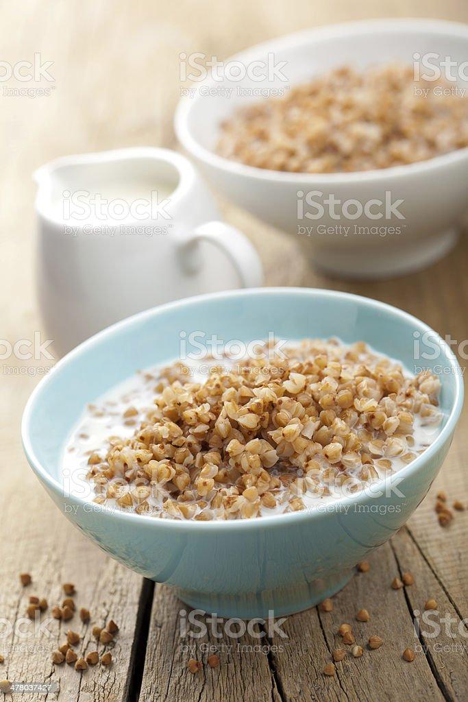 buckwheat groats with milk royalty-free stock photo